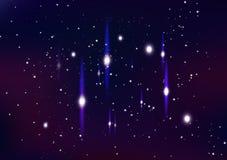 Astronomi stjärnor i galax blänker skinande skimrar den abstrakta bakgrundsvektorillustrationen stock illustrationer