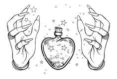 Astronomia d'annata: mani umane con la bottiglia o il barattolo a forma di calore w royalty illustrazione gratis