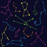 Astronomia - ilustração de constelações coloridas Fotografia de Stock Royalty Free