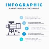 Astronomia, zakres, przestrzeń, teleskop Kreskowa ikona z 5 kroków prezentacji infographics tłem ilustracja wektor