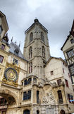 Astronomic clock and fountain at Rue du Gros-Horloge (1389). Stock Images