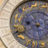 Astronomic clock at a tower at St. Mark`s square, Venice, Italy Royalty Free Stock Photography