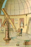 Astronomic observatory, vintage image, XIX century. Astrophysics observatory, astronomer exploring the universe, image of XIX century Royalty Free Stock Images