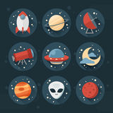 Astronomic round set of flat space icons. For user interface with planets, rocket, telescope, ufo, stars and long shadows Royalty Free Stock Photo