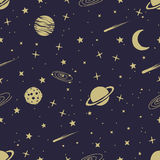 Astronomic seamless pattern. With space planets,comets,stars.Vector illustration Royalty Free Stock Photo