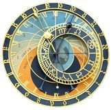 Astronomical clock. Isolated on white royalty free stock image