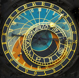 Astronomical clock. Old astronomical clock in the center square of Prague, Czech Republick Royalty Free Stock Images