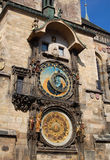 Astronomical clock 4. Angled view of the astronomical clock of Prague Stock Photos