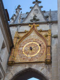 The astronomical clock at Auxerre, France. Auxerre, a medieval town at Le Morvan, Burgundy, France with its astronomical clock Stock Photos