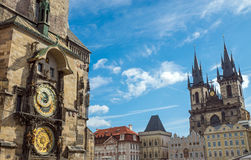 Astronomical clock and church Royalty Free Stock Photography