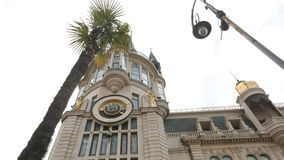 Astronomical clock on city hall building Batumi, Georgian sightseeing, tourism. Stock footage stock video footage
