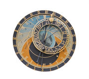 Astronomical clock-design element. Astronomical clock from Prague isolated against a white background.The clipping path is included in the file Royalty Free Stock Image