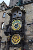 Astronomical Clock Details of Old Town Hall Tower in Prague, Czech Republic Stock Photo
