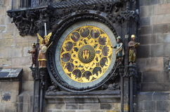 Astronomical Clock Details of Old Town Hall Tower in Prague, Czech Republic Stock Photos