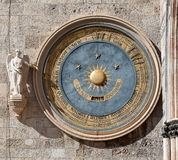 Astronomical clock, Duomo, Messina, Sicily, Italy. Astronomical Clock (Orologio Astronomico) or eternal calendar on the bell tower of the Duomo Cathedral of Royalty Free Stock Image