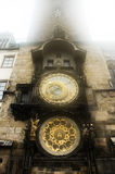 Astronomical clock in a fog Stock Images