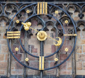Astronomical Clock and gate of the Gothic Cathedral of Saints Vitus, Prague Castle, Czech Republic Europe. Stock Images