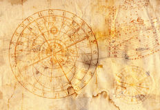 Astronomical clock on grunge paper. Old grunge paper with zodiac signs and astronomical clock royalty free stock photography