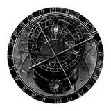 Astronomical Clock In Grunge Style Stock Images