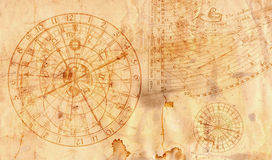 Astronomical clock in grunge style useful as a background - 16:9 Royalty Free Stock Image