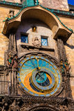 Astronomical clock at the historic City Hall Tower in Prague. Stock Photos