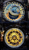 Astronomical clock. Prague. An astronomical clock is a kind of clock that tells us of the relative positions of the sun, the moon, the constellations of the royalty free stock images