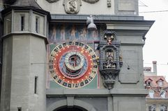 Astronomical clock on the medieval Clock Tower -  Zytglogge. The clock has lunar phases and show the current zodiac sign. Bern,. BERN, SWITZERLAND - JUNE 9, 2013 stock images