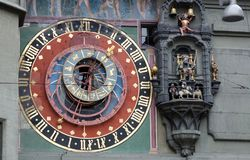 Astronomical clock on the medieval Clock Tower -  Zytglogge. The clock has lunar phases and show the current zodiac sign. Bern,. BERN, SWITZERLAND - JUNE 9, 2013 stock photography
