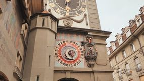 Astronomical clock on the medieval Zytglogge clock tower in Kramgasse street in old city center of Bern, Switzerland. Astronomical clock on the medieval stock footage