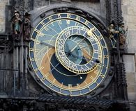 Astronomical clock at Old Town Hall. At Prag. The medieval tower clock is located at the southern side of the Old Town Hall Tower. When the clock strikes the stock photo