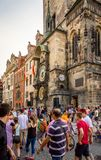 Astronomical clock on Old Town Hall in Prague Stock Photos