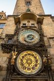 Astronomical clock on old town hall in Prague Stock Images