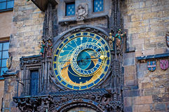 Astronomical Clock on Old Town Hall Tower in Prague Stock Images