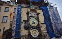 Astronomical clock on the Old Town Square in Prague, Prague Orloj. stock photo