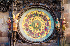 Astronomical Clock Orloj closeup in Czech Republic, Europe. Vintage style. Prague clock tower detail. Famous attraction Royalty Free Stock Image