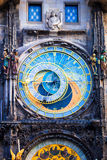 Astronomical Clock Orloj closeup in Czech Republic, Europe. Vintage style. Prague clock tower detail. Famous attraction Royalty Free Stock Images