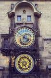 Astronomical clock (Orloj) in the hictorical city center. Royalty Free Stock Photos