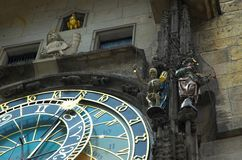 Astronomical Clock, Prague. Detail of Prague Astronomical Clock showing Death ringing his bell royalty free stock images
