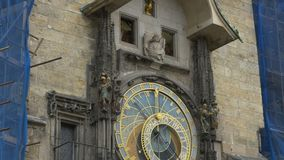 The Astronomical Clock in Prague. With moving statues above the dials stock video
