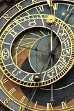 Astronomical Clock in Prague close-up view. Medieval architecture - old Astronomical Clock in Prague, Europe close-up view Stock Image