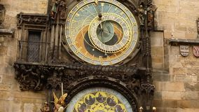 Astronomical clock in Prague, Czech Republic, situated at the Old Town Square. Prague Astronomical Clock. Prague, Orloj, Works, close-up stock video footage