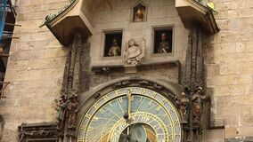 Astronomical clock in Prague, Czech Republic, situated at the Old Town Square. Prague Astronomical Clock. Prague, Orloj, Works, close-up stock video
