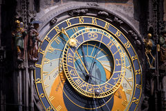 Astronomical clock in Prague at dawn. Detailed view of the astronomical clock in the Old Town Square in Prague at dawn, Czech Republic Royalty Free Stock Photography