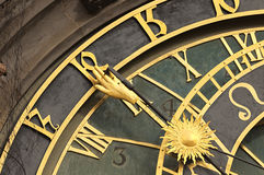 Astronomical clock in Prague in puddle Royalty Free Stock Image