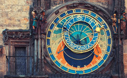 Astronomical clock in Prague. Astronomical clock in Town Hall in Prague, Czech republic Stock Photo