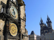 Astronomical clock in Prague (UNESCO). Ancient clock in Prague on Old Town Square Stock Image