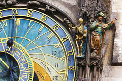 Astronomical clock snd statues in Prague Stock Photos