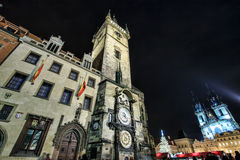 Astronomical clock with Teyn church of Prague, Czech Republic Stock Image