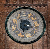 Astronomical clock on the Torrazzo tower, Cremona, Italy. The clock on the Torrazzo tower is the largest astronomical clock in the world, painted by Paolo stock images