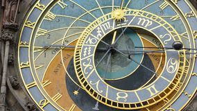 Astronomical Clock Tower detail in Old Town of Prague, Czech Republic. Astronomical clock was created in 1410 by the watchmaker Mi. Kulas Kadan and mathematician Royalty Free Stock Images